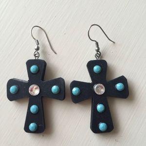 Embellished Black Wood Cross Earrings